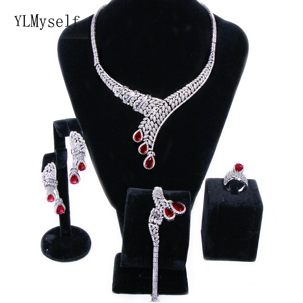 Luxury 4pcs wedding party jewelry sets Big red water drop crystal Necklace+Bracelet+earrings+ring Large jewellery set for bridal a suit of chic faux ruby water drop necklace ring bracelet and earrings for women