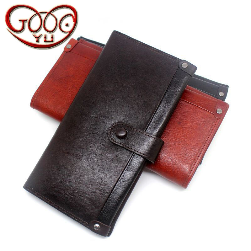 Здесь продается  Men and women solid color long wallet solid leather walnut leather cross-section multi-card magnetic clutch clutch  Камера и Сумки
