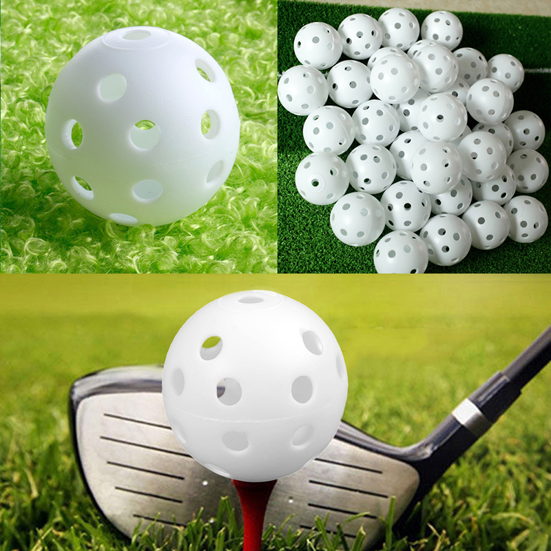10Pcs/Lot Plastic Golf Balls Whiffle Airflow Hollow Golf Practice Training Sports Balls Indoor Outdoor Practice Blue Golf Balls