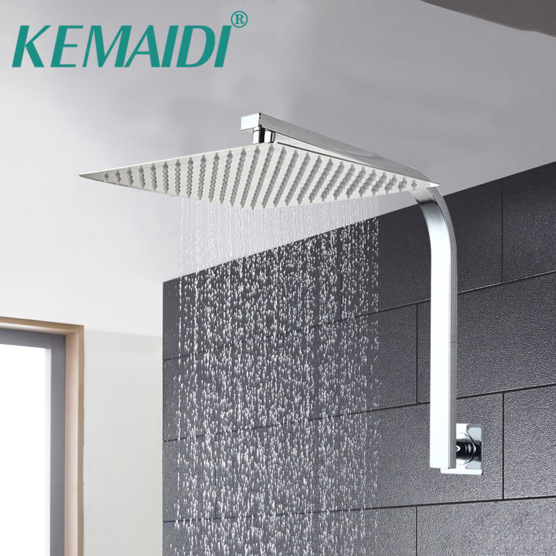 KEMAIDI AU 10'' 10-inch Bathroom Wall Mounted Square Rain Stainless Steel Shower Head Mixer Chrome Finish Tap & Shower Arm Set free shipping wall mount 10 inch stainless steel rain shower head brass shower arm chrome finish