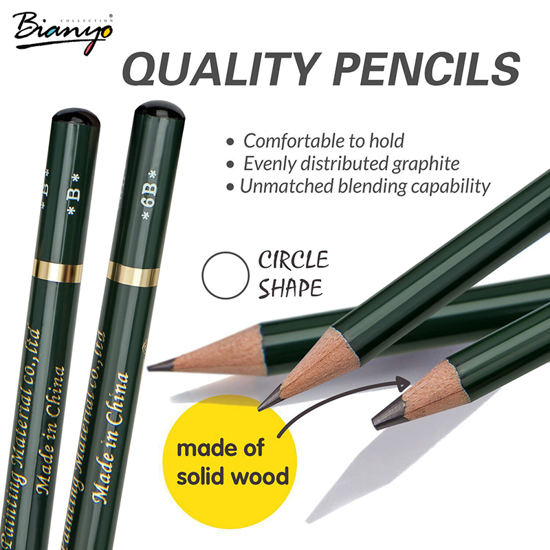 Bianyo Sketch Standard Pencil 12/Box Simple Pencil Charcoal For Drawing Professional Artist Tools Office Pencils Sets Good Gfit