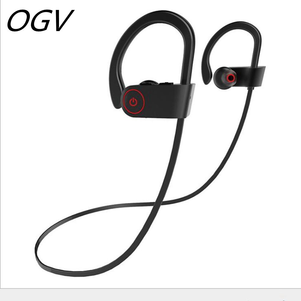 OGV  Sweatproof Wireless Bluetooth Earphone in ear Sport Stereo headset handfree with Microphone for phone computer outdoor MP3 universal led sport bluetooth wireless headset stereo earphone ear hook headset for mobile phone with charger cable