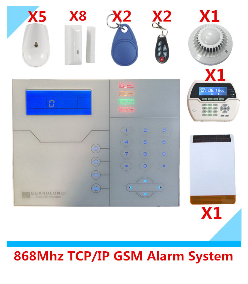 Brand Alarm 868Mhz/433Mhz RFID wireless TCP/IP GSM Alarm system Smart Home Security Alarm System with Solar Strobe siren 868mhz wireless gsm alarm system 7 inch touch screen home alarm with bulit in lithium battery with wireless outdoor solar siren