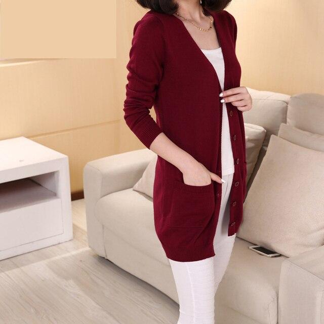 2016 Outono/Inverno New Elegante Solto Poceket Malha Mulheres Longas Cardigan Malhas Camisola do Revestimento do Revestimento Plus Size Tops S ~ 3XL