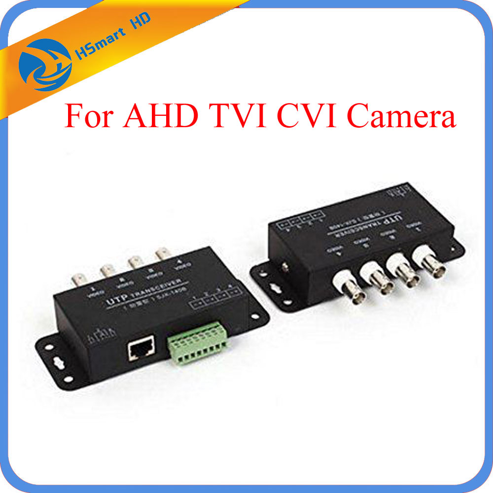 New 4CH AHD/TVI/CVI Passive UTP Video Transceiver Balun over UTP Cable for AHD TVI CVI Camera DVR Systems CCTV System promotion new silver utp 4 channel passive video balun transceiver adapter