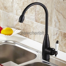 Black Oil Rubbed Brass Single Handle Swivel Spout Kitchen Sink Hot & Cold Faucet Mixer Tap csf104