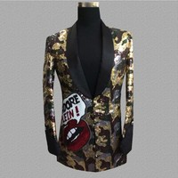 New Fashion Leopard sequin Blazer Men gowns jackets Nightclubs bars DJ suits male singers personality trends Suit Coat S 3XL