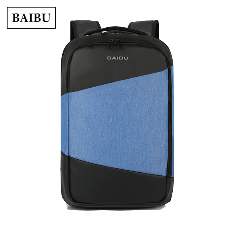 BAIBU Brand USB Laptop Bag Pack Men Business Harajuku Male Casual Backpack for Teens School Bag Blue Anti Theft Travel Back Pack arctic hunter design backpacks men 15 6inch laptop anti theft backpack waterproof bag casual business travel school back pack