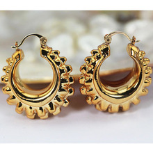 Fashion Jewelry 2017 Big Round Copper Hoop Earrings for Bride Wheel Gear Jewelry Accessory Romantic Lover Gift for Girls  EA093
