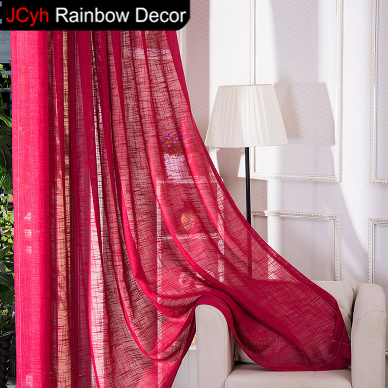 JRD Solid Tulle Curtains Living Room Short Door Curtain Linen Voile ...