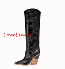 Lonelinecc new pointed women strange style high heel knee high boots patchwork embossing plaid runway boots knight long booties prova perfetto new fashion embossing plaid runway boots women knee high boots pointed toe strange high heel ladies chelsea boots