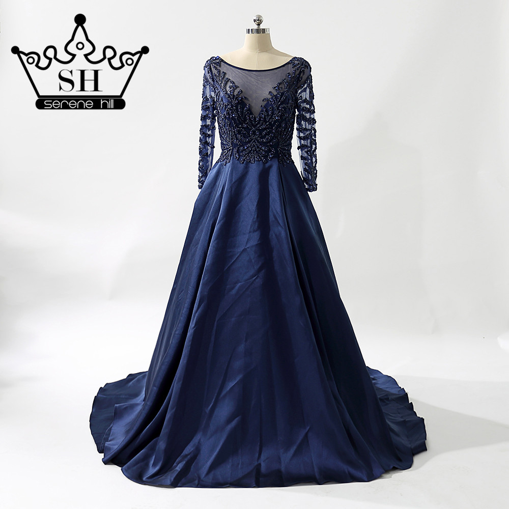 Navy Blue Party Dress Deep V Real Photos Nude Color Satin Crystal Party Occasion Formal Long -7590