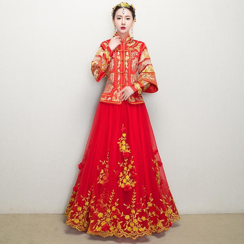 Traditional Gown Bride Cheongsam 2018 New Chinese Wedding Woman Women Phoenix Embroidery Dress Modern Qipao Red Oriental Dresses cele goldsmith lalli modern bride® wedding celebrations