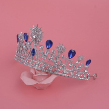 Earring Headdress Royal Crown Silver Rhinestone Imitation Blue Tiara Rhinestone Wedding Tiaras Princess Dress Accessories