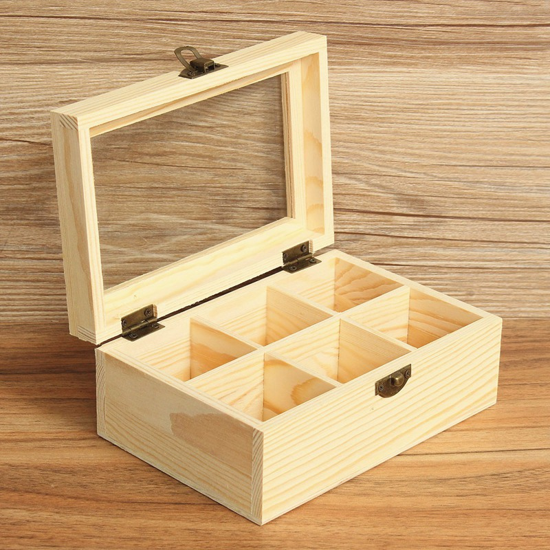 Vintage 6 Compartments Wooden Tea Box Jewelry Accessories Storage