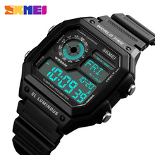 Countdown Sports Watches Men Compass Digital LED Pedometer Calories Wat