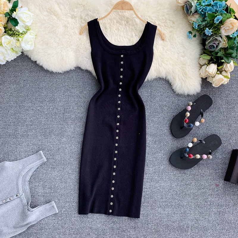 2019 new fashion women's dresses Knit single breasted sexy hip dress