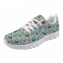 NOISYDESIGNS Cute Women Spring flat Shoes Cartoon Chicken Flower Printed Breathable Mesh Shoes for Female Lady's Flat Zapatos