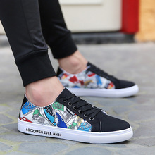 2018 new canvas men Footwear Low Casual Elastic All Shoes low help classic couple cloth shoes level students leisure Print Shoes цена и фото