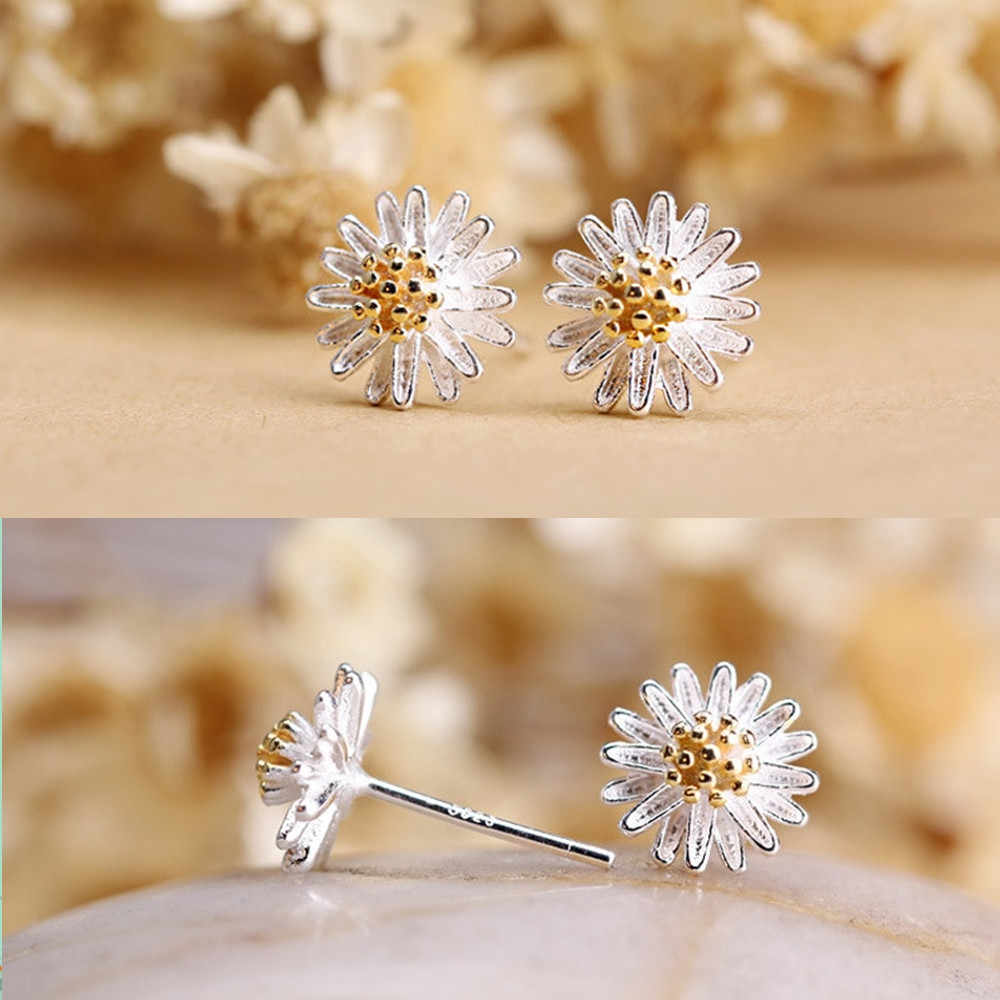 Fancinating 1Pair Women Daisy Flower Earrings Ear Stud Jewelry Alloy Material Oorbellen Floral Pendientes Ornaments Earrings
