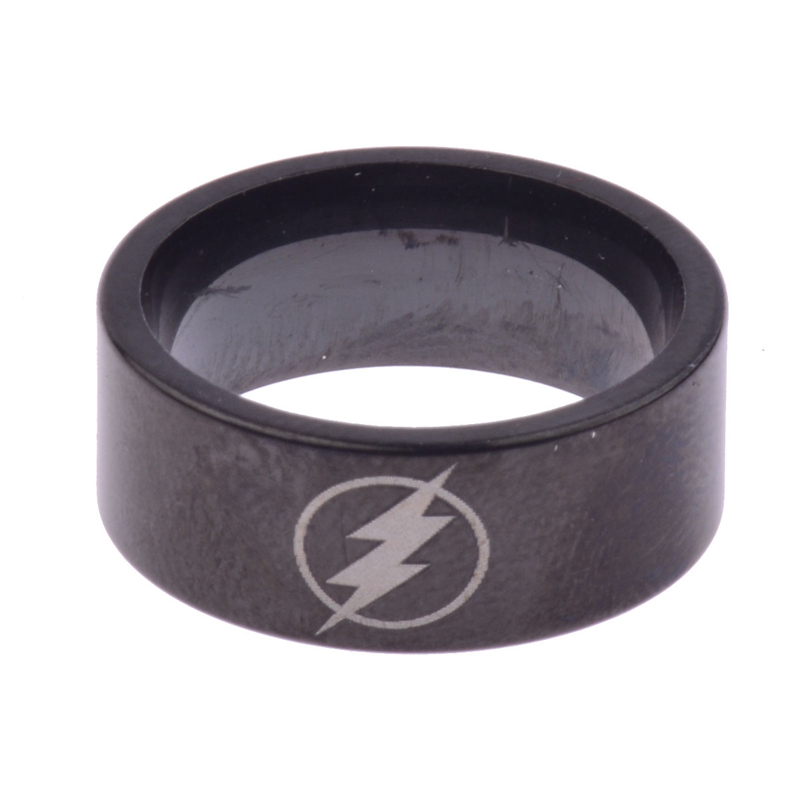 Fashion Titanium Boys Men Black The Flash Symbol Stainless Steel Polished Ring Cocktail Wedding Jewelry Wholesale