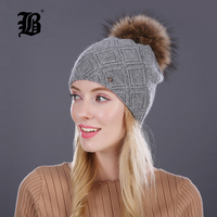 FLB Winter Fur Beanies Cap Pompom Hat For Women Cashmere Wool Cotton Hat Big Real