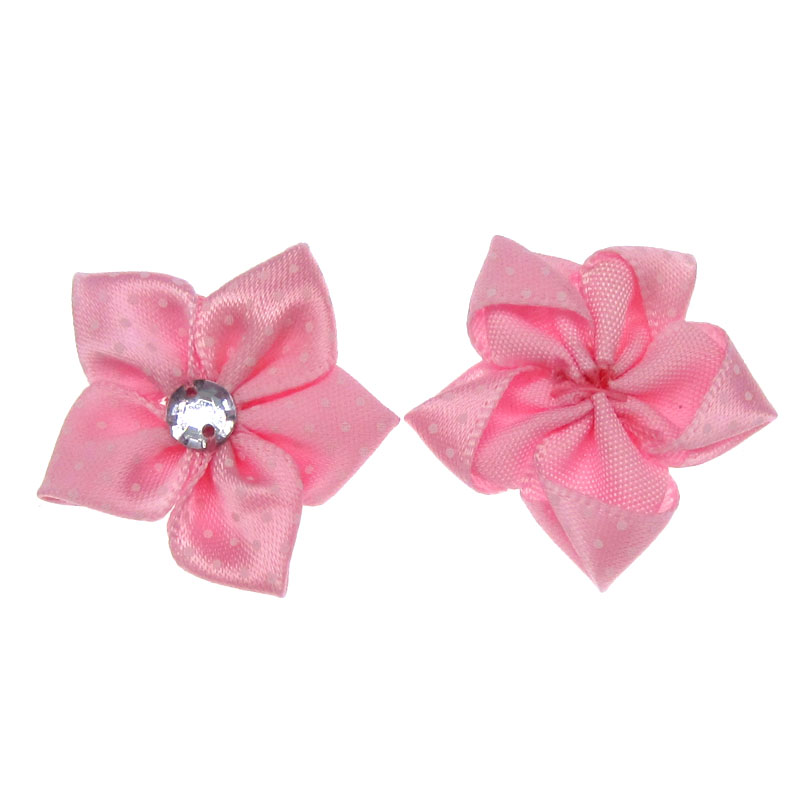30Pcs Pink Printed Satin Dot Ribbon Flower Acryl Rhinestone Fabric Flowers  Applique Craft Wedding Decorations 3.5cm-in Artificial   Dried Flowers from  Home ... 8351700adfa4