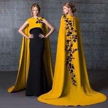 Wunderschöne Saudi-arabien Lange abendkleider 2016 Schwarz Appliques Nixe-abschlussball Gold Abendkleid Vestido De Festa