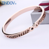 Trendy Titanium Stainless Steel Bangles Bracelet Women Rose Gold PVD Gold Plated Infinity Design Fashion Party