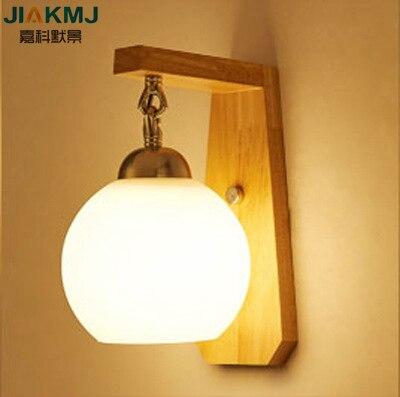 Lampe de mur LED créative en bois massif