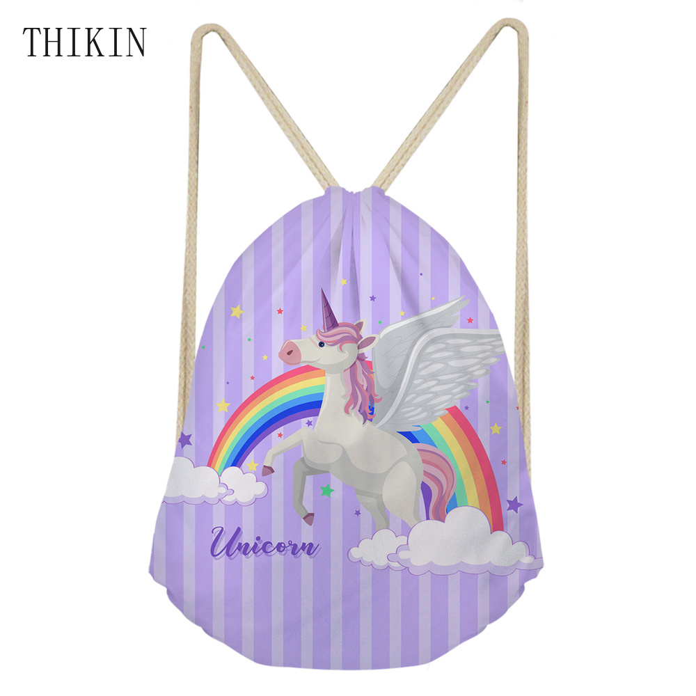 THIKIN Rainbow Horse Printed Women Swim Bag Cute Unicorn Birthday Small Draw-string Backpack Kids Causal Sport Bags For Swimming