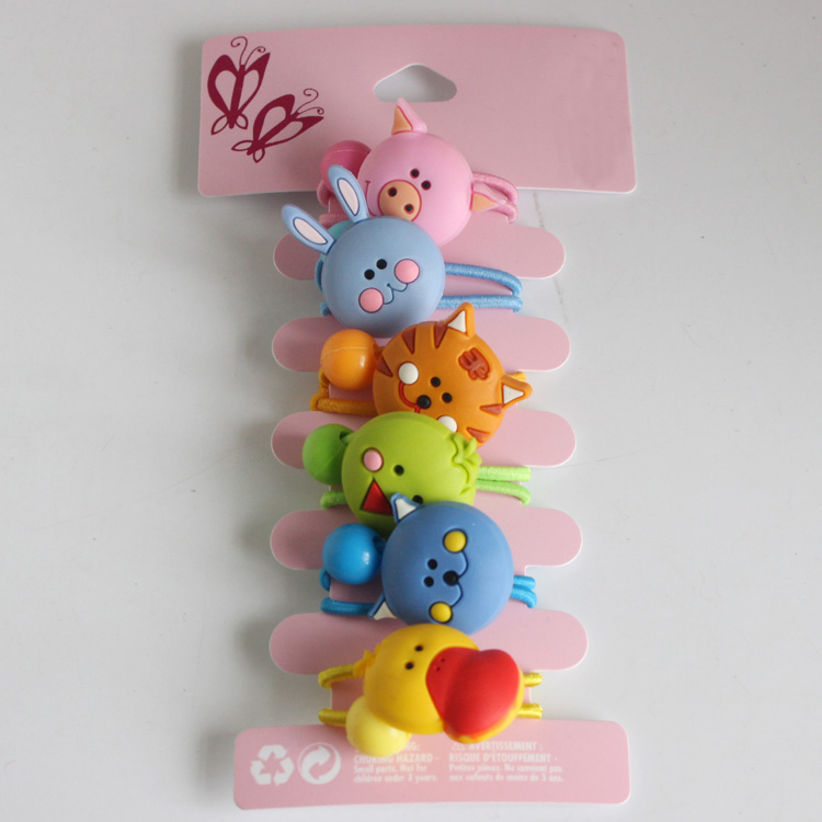 6pcs/lot Christmas gifts Rabbit, cat, duck, PigHead Elastic Hair Bands Resin headwear Animal ponytail holders hair accessories