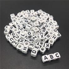 """סיטונאי 6*6 מ""""מ 100 יחידות כיכר אלפבית 26 מכתב חרוזים הסעודית דיגיטלי חרוזים, DIY שרשרת צמיד שרשרת תכשיטי ייצור"""
