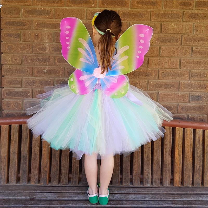 ffc002ff47dc7 Children Pastel Girls Fairy Tutu Dress With Headband Wings Kids Birthday  Party Dresses Cosplay Girls Halloween Costume Sets PQ17-in Dresses from  Mother ...