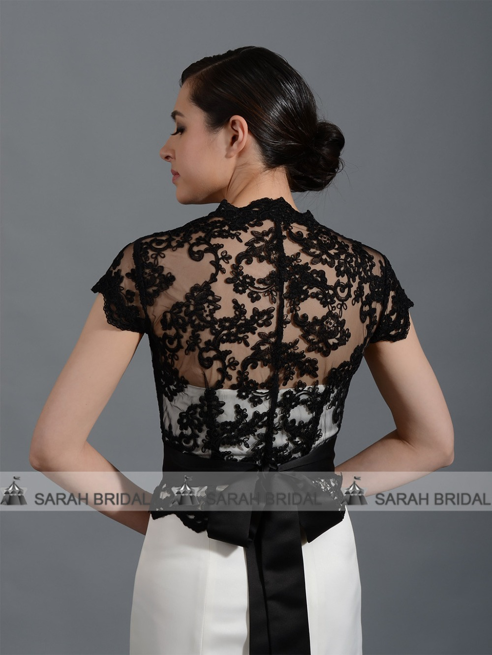 Black Lace Women Jacket Wrap For Evening Gowns In Stock Front Open Bridal  Bolero Shrug With Ribbon Lace Cap Stole PJ013-in Wedding Jackets   Wrap from  ... ada06253ff75