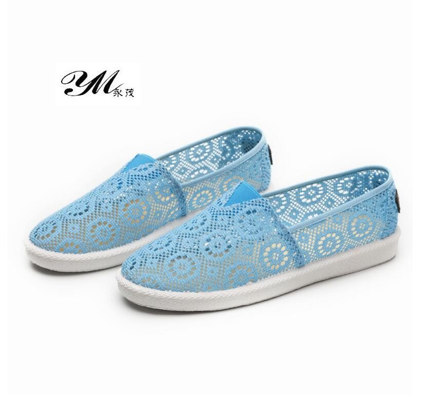 YM New Arrival Summer Women's Hollow Beach Flat Shoes Women Lace Mesh Breathable Flats Lady Fashion Casual Wild Cotton Hole Shoe fashion cotton butterfly pattern lace hollow jacquard hats for women summer elastic thin soft breathable beanie skullies hat