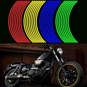 Image 2 - 16 Pcs Strips Motorcycle Wheel Sticker Reflective Decals Rim Tape Bike Car Styling For YAMAHA HONDA SUZUKI Harley BMW