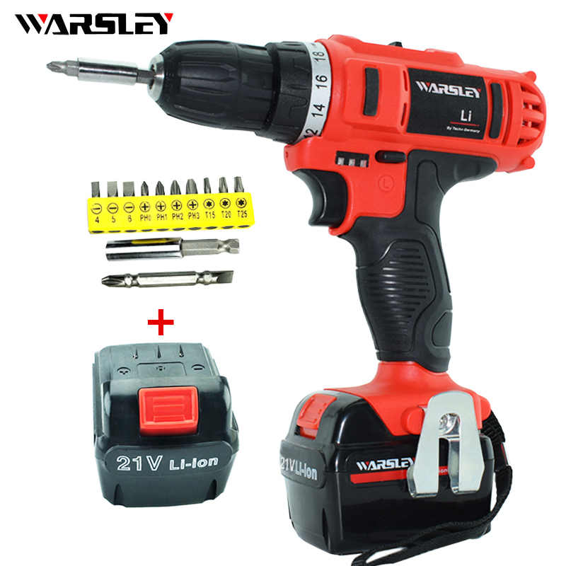 21V Electric Screwdriver Cordless Drill Lithium battery wireless electric drilling powered  rechargeable Mini  Power Tools
