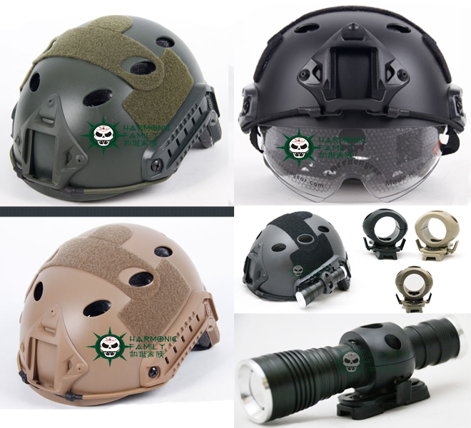 3Color Tactical Airsoft Paintball Fast Helmet W/ Goggle+Tactical Helmet Single Clamp 1 25.4mm +Tactical Flashlight tactical fast mh standard helmet for airsoft paintball khaki