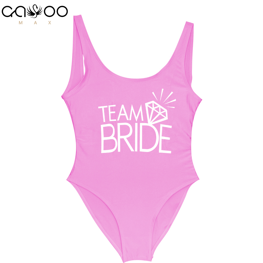 One-Piece Swimsuit Monokini Sexy Team Bride Wedding Letter Print Women Diamond-Pattern