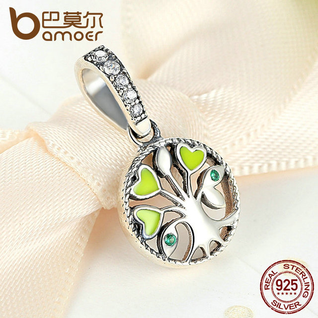 Sterling Silver Green Heart Tree of Life Pendant Charm