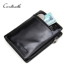 CONTACT'S Men's Organizer Wallets Fashion Oil Wax Leather Short Men Wallet Zipper Design Genuine Leather Purses With Card Holder