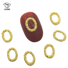LEAMX 10 PCS/bag Oval Alloy Nail Art Decorations Gold Silver 3D Frame Manicure DIY Nails Charms Tools NEW Supplies Decor L397