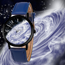 Atmospheric Vortex Space Watch Casual Quartz Leather Strap Astronomy Planets Uni