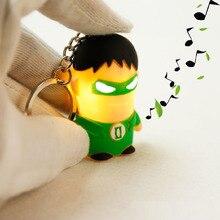 New Green Lantern LED Flashlight Keychina with sound action toy figures Green Lantern Keychain toys gift for child kids toys