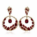 Love Deluxe Earrings-Featured Brands Latest design Circle shape gold plated Synthetic zirconia crystal drop earrings for women