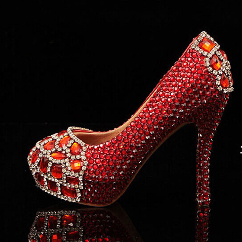 ФОТО Newest round toe red crystals with Red diamonds rhinestones bridal wedding shoes Red Beautiful High-heeled Prom Shoes Plus size