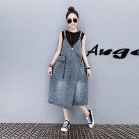 Summer Women Large Big Size Denim Long Dress Woman Fashion Cotton Jean Dresses Female Casual Sundress Female Oversize Clothing