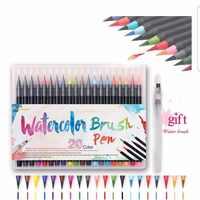 20 cores aquarela escova caneta macia conjunto de marcadores aquarela forro caneta para manga caligrafia cômica pintura arte suprimentos