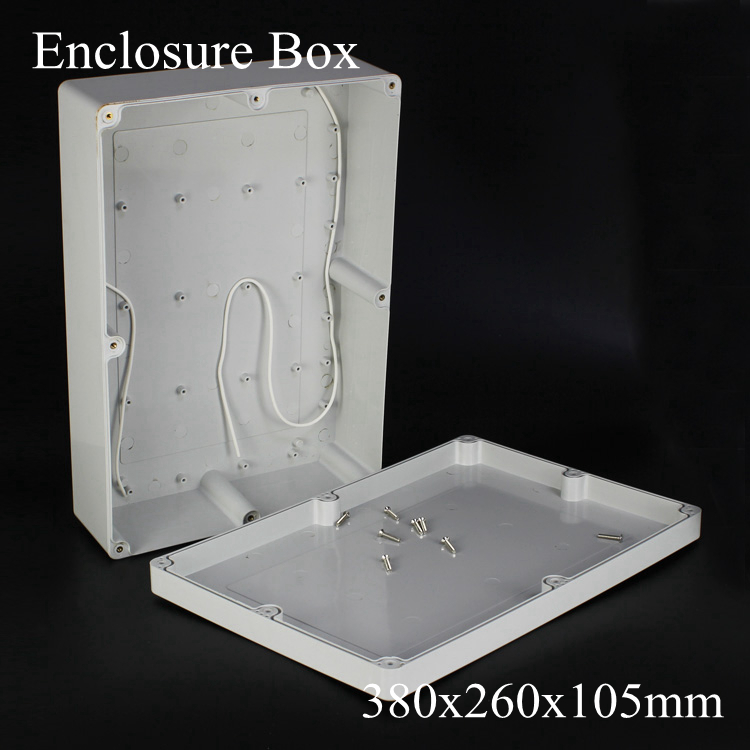 (1 piece/lot) 380x260x105mm Grey ABS Plastic IP65 Waterproof Enclosure PVC Junction Box Electronic Project Instrument Case 1 piece lot 280x195x135mm grey abs plastic ip65 waterproof enclosure pvc junction box electronic project instrument case